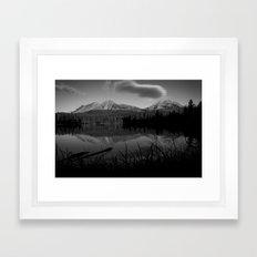 Lassen Volcanic National Park - Mt. Lassen Reflection in Black and White Framed Art Print