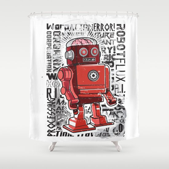 Robot Flux Shower Curtain