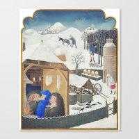 Winter Pigs Canvas Print