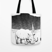Rhino during Midnight in Paris Tote Bag