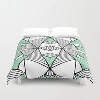 Triangle Tribal Mint Duvet Cover