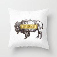 Wild & Free (Bison) Throw Pillow