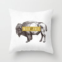 Wild & Free (Bison) Throw Pillow