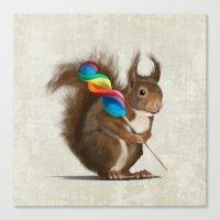 Squirrel with lollipop Canvas Print