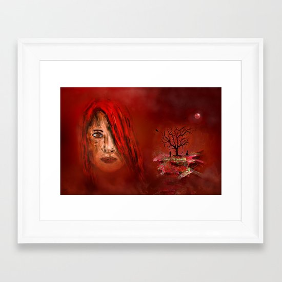 Lady in red - Island Framed Art Print