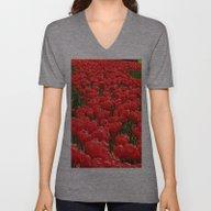 Red Tulips Unisex V-Neck