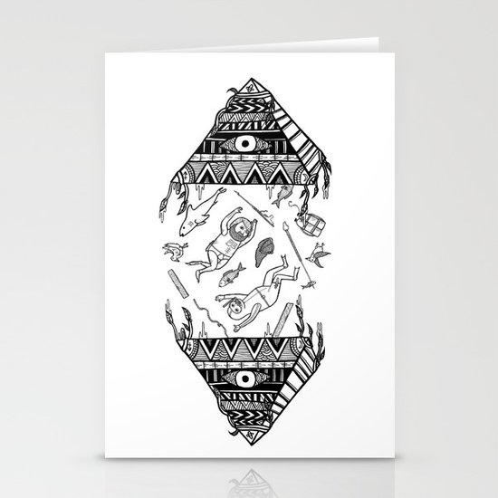 On how the mystical levitation of divers are induced by floating pyramids Stationery Card