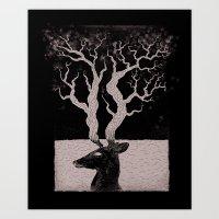 Deer, Death & Renewal Art Print