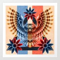 Owl And Flowers Art Print