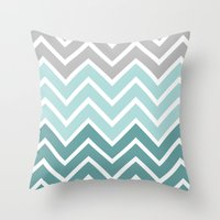 THIN BLUE FADE CHEVRON Throw Pillow
