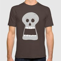 Halloween Skull Mens Fitted Tee Brown SMALL