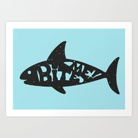 shark Art Prints featuring SHARK! by Dylan Morang