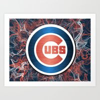 Cubs swirl Art Print