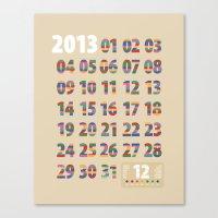Minimalist Calendar 2013… Canvas Print