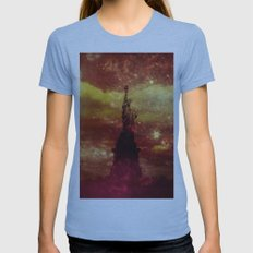 Lady Liberty red and yellow stars Womens Fitted Tee Athletic Blue SMALL