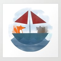 Fox & Wolf in a Tub Art Print