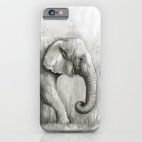 Elephant Watercolor Black and White Animal Painting iPhone 6 Slim Case