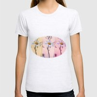 Trio Daisies Womens Fitted Tee Ash Grey SMALL