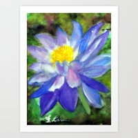 Blue Violet Lotus flower Art Print