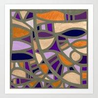 Gaudy Gaudi orange & purple Art Print
