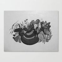 Doodles on White Canvas Print