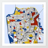 san francisco Art Prints featuring San Francisco by Mondrian Maps