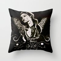 Black (Wings/Angel) Throw Pillow