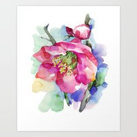 cherry blossom Art Prints featuring Cherry Blossom by A cup of grey tea