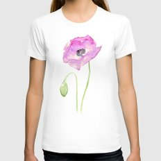 Flower Purple Poppy Floral Watercolor Womens Fitted Tee White SMALL