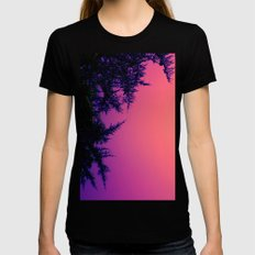 Peach, Pink, Purple Womens Fitted Tee Black SMALL