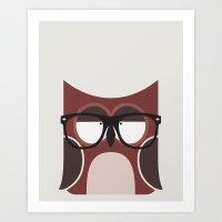 Hipster Owl Art Print Art Print