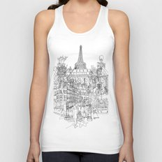 Paris! B&W Unisex Tank Top
