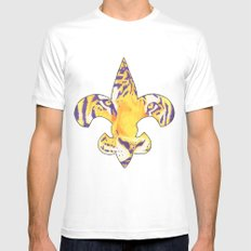 Fleur De Lis LSU Tiger Mens Fitted Tee SMALL White