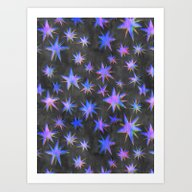 Art Print featuring Starry Night {grey} by Schatzi Brown