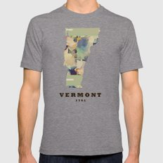 Vermont state map Mens Fitted Tee Tri-Grey SMALL