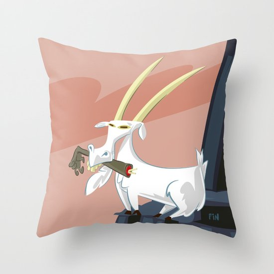 Trashmouth Goat, the Frost Giant Slayer Throw Pillow