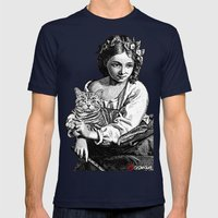 Young Girl with Cat Mens Fitted Tee Navy SMALL