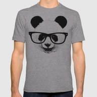Panda Head Too Mens Fitted Tee Athletic Grey LARGE