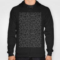 White Tetris Pattern on Blue Hoody