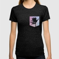 Single Palm Womens Fitted Tee Tri-Black SMALL