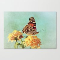 Butterfly on Lantana Canvas Print