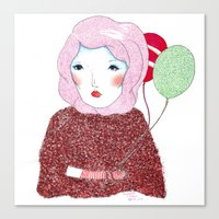 Lady with baloons Canvas Print