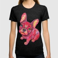 Raspberry frenchie Womens Fitted Tee Tri-Black SMALL