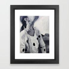 Girl looking up Framed Art Print