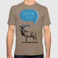 Hello My Deer! Mens Fitted Tee Tri-Coffee SMALL