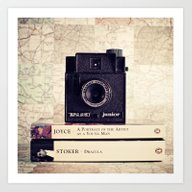 Art Print featuring Vintage Black Camera And… by AC Photography