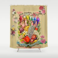 Flowers & Budgies Shower Curtain