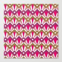 Deco Diamond Tiles In Re… Canvas Print