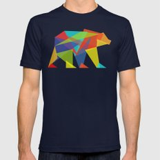 Fractal Geometric bear Mens Fitted Tee Navy LARGE