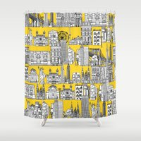 New York Yellow Shower Curtain